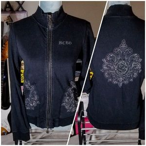 BCBG MaxAzria Black Embellished Full Zip-Up